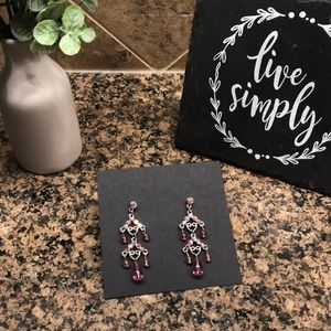 Pink sparkly drop earrings